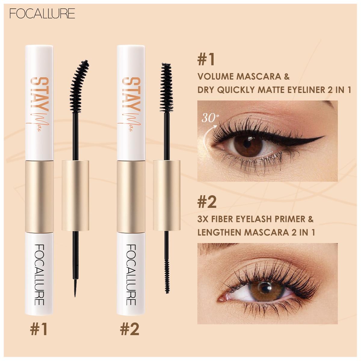 Focallure Mascara 2 In 1 Mascara Fiber Eyelash Primer 3X Lengthen Eyelashes And Waterproof Mascara Eyeliner Cosmetic