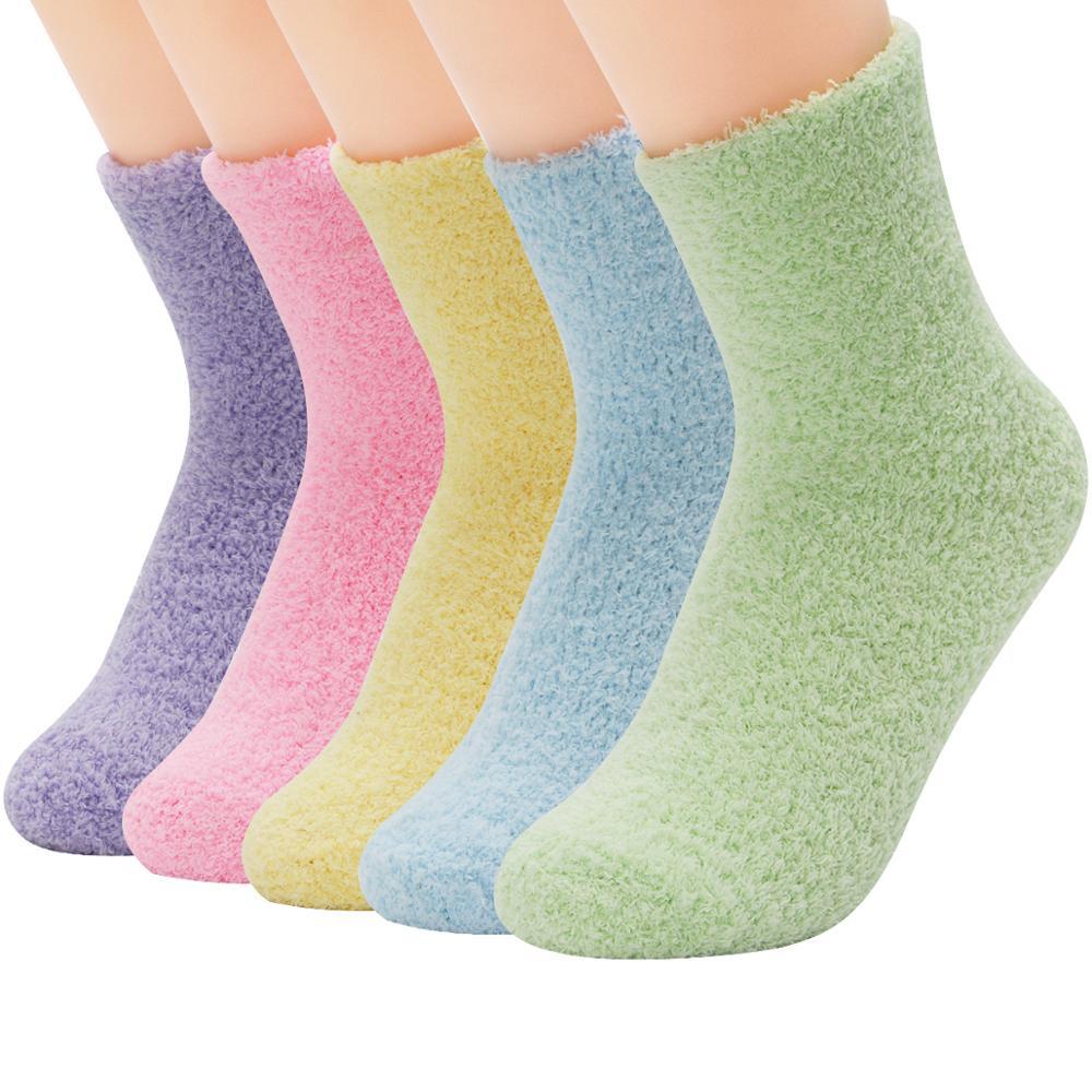 5 Pair Candy Warm Lady Heart Cute Winter Kawaii Thick Casual Women Socks Fuzzy Fluffy Warm Socks Short Cute Cotton Socks Female