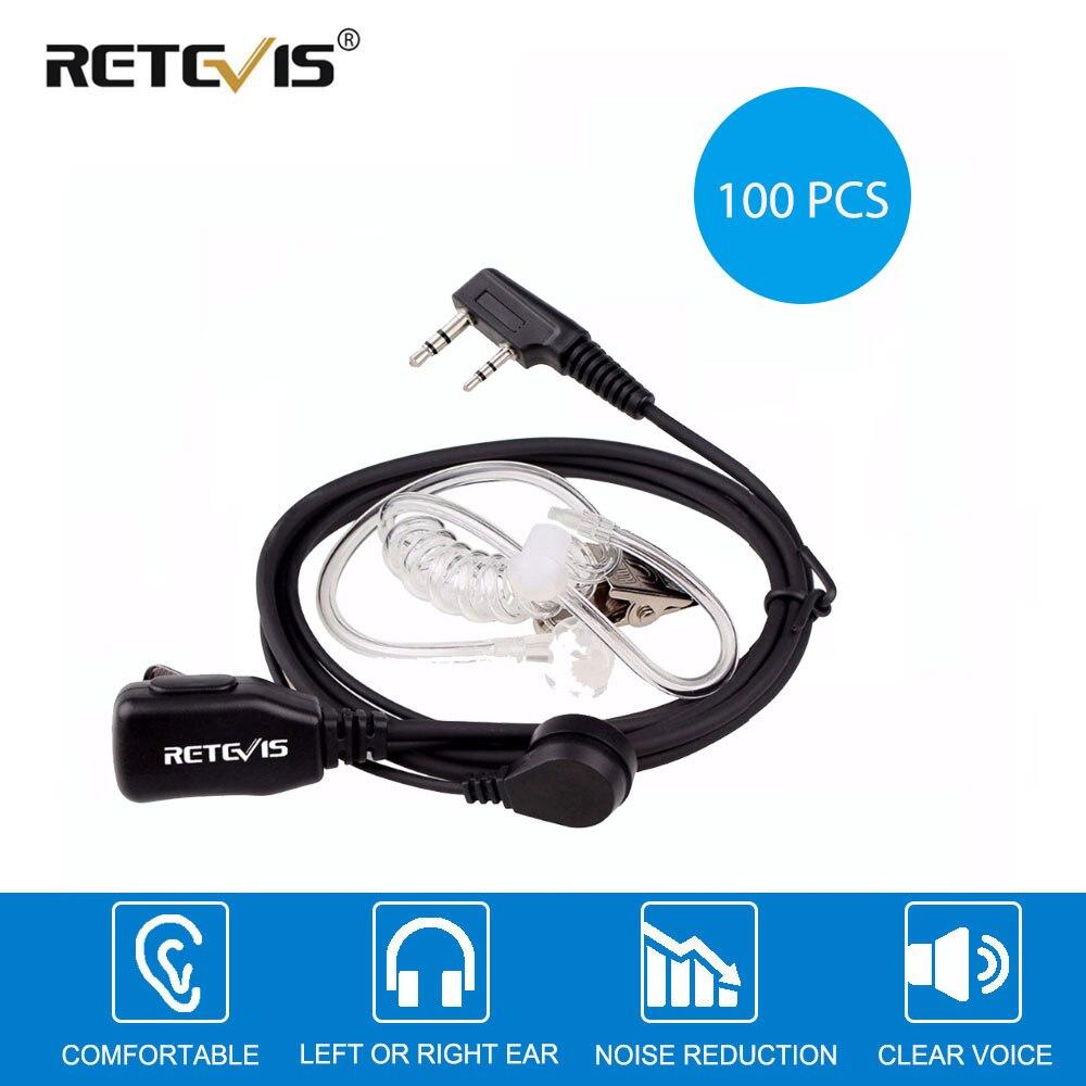 100 قطعة الصوتية أنبوب PTT Mic 2Pin سماعة اسلكية تخاطب سماعة ل كينوود TYT Baofeng 888s UV-5R UV-82 RETEVIS RT22 H777
