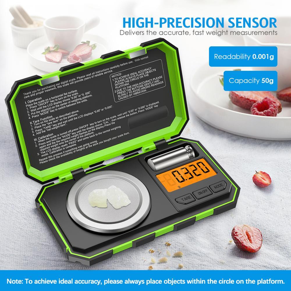 مقياس رقمي مصغر مقياس مليغرام مقياس مجوهرات محمول مقياس الخبز مقياس مطبخ مقياس قيراط مع معايرة 50g