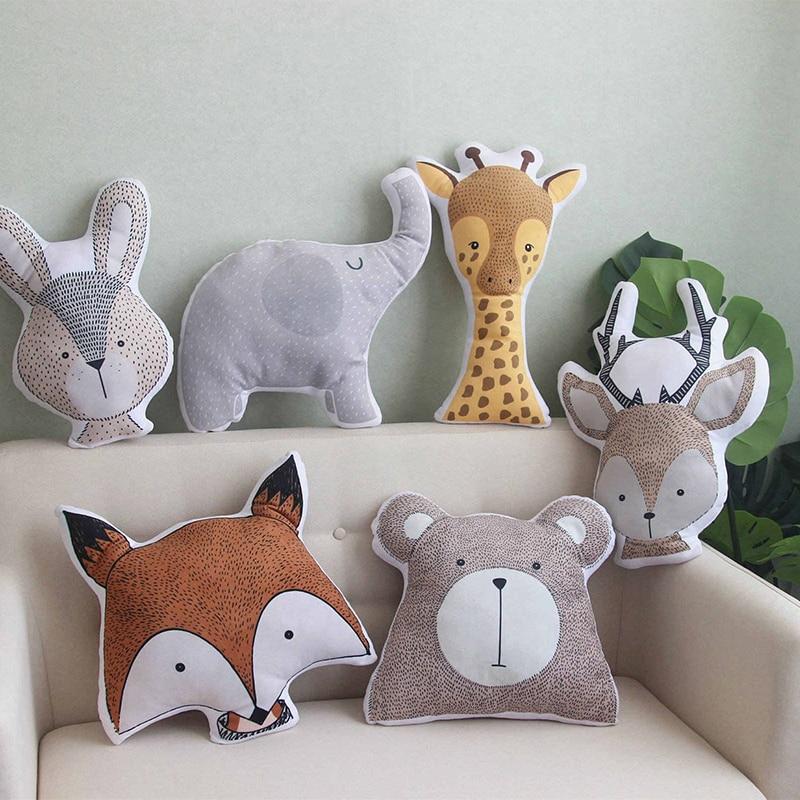AliExpress - Baby Elephant Fox Deer Bear Giraffe Rabbit Soft Stuffed Plush Toys Pillows Animal Plush Toy Cartoon Pillow Cushion For Kids Gift