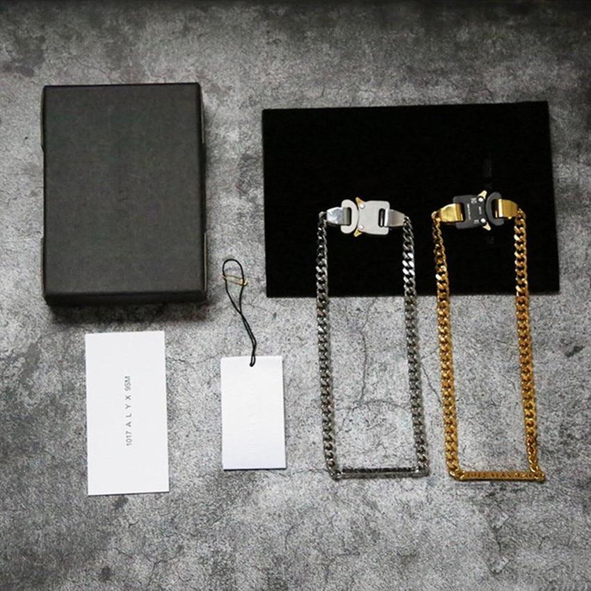 Corrente de herói 1017-alyx-9sm fivela colar masculino feminino ouro branco letras a céu aberto alyx colares