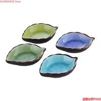 kitchen bowl kitchen tool dish japanese style creative ice crackle glaze leaf ceramic seasoning soy sauce vinegar small dish