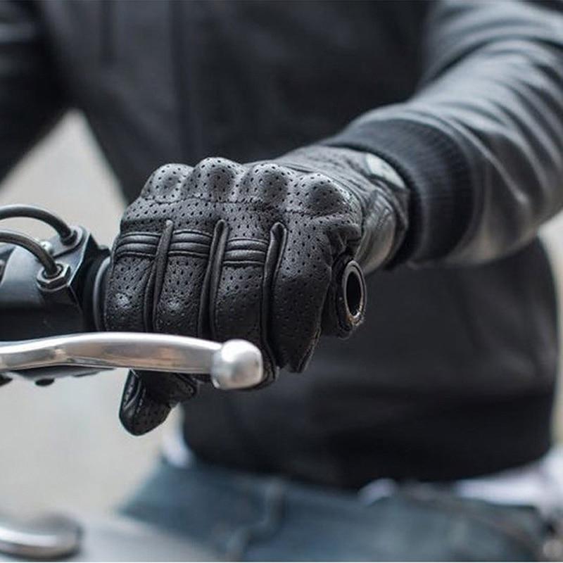 عالية الجودة الماعز الرجال قفازات للدراجات النارية جلد طبيعي شاشة تعمل باللمس موتوكروس سباق قفازات قيادة الدراجة الترابية الدراجات Guante