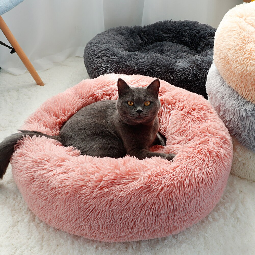 Cómoda cama de perro de peluche Hondenmand lavable cojín para cama de mascotas redondo calmante estera de sofá perrera Donut camas casa para perros grandes caliente