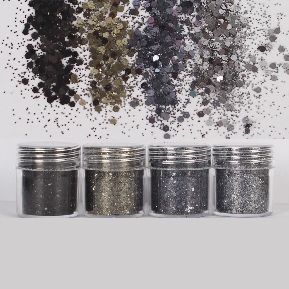 4 potes preto cinza conjunto hexágono glitters bling solto lantejoulas uv resina jóias recheios para diy resina artesanato jóias ferramenta pigmento