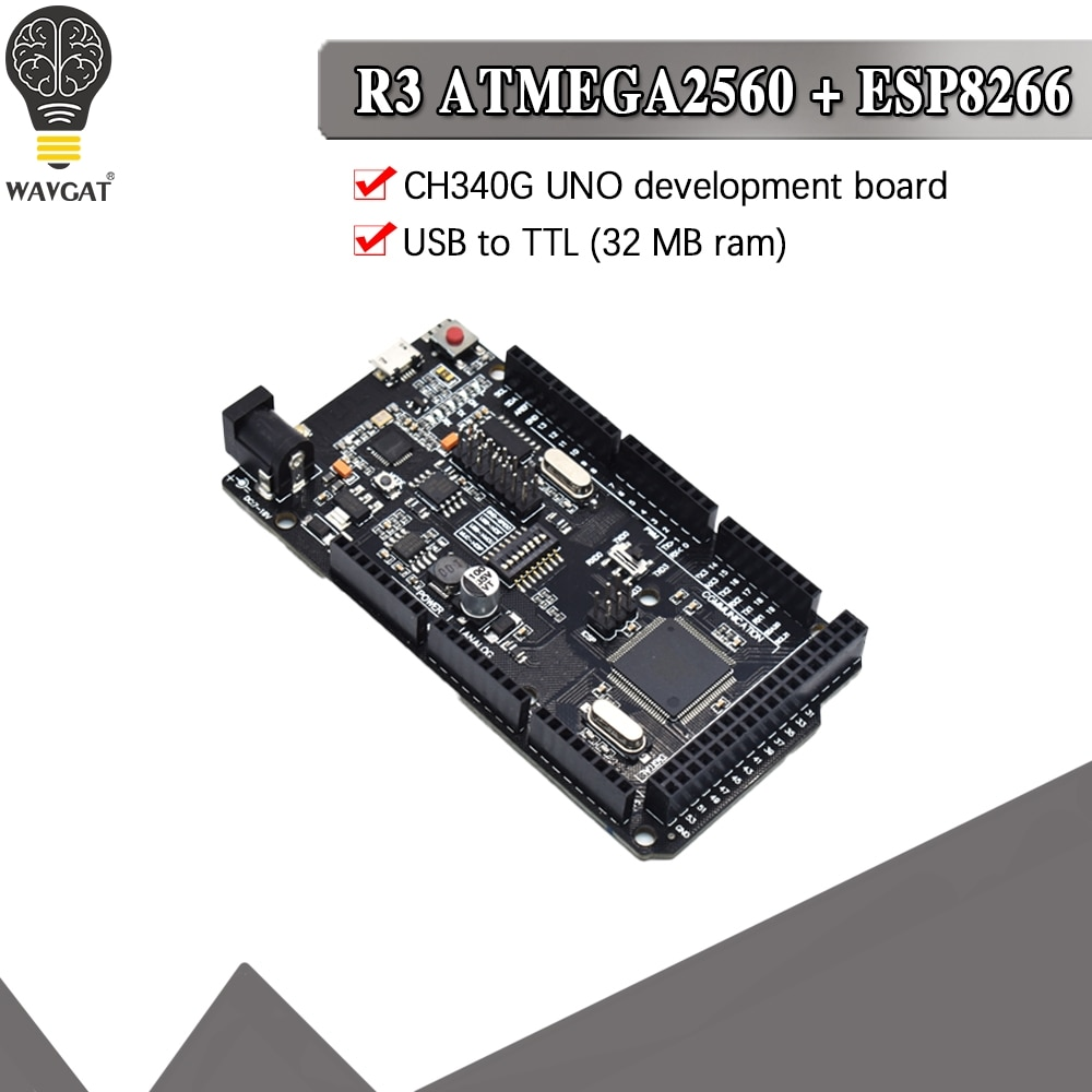 Mega2560 + WiFi R3 ATmega2560 + ESP8266 32Mb الذاكرة USB-TTL CH340G متوافق لاردوينو ميجا NodeMCU WeMos مجلس التنمية