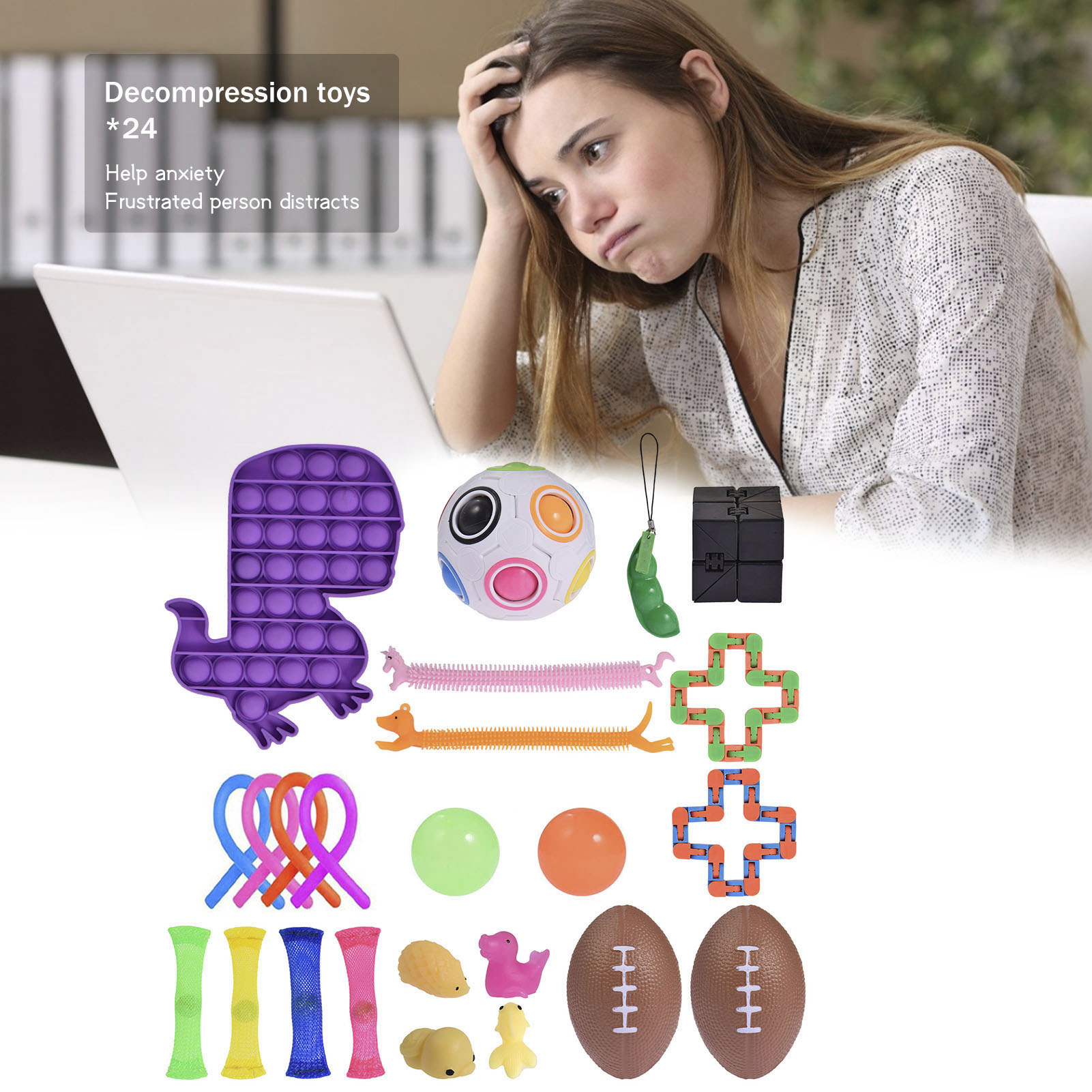 24PCS Sensory Fidget Toy Silicone Stress Relief Anti-Anxiety Toy Suitable For Children And Adults enlarge