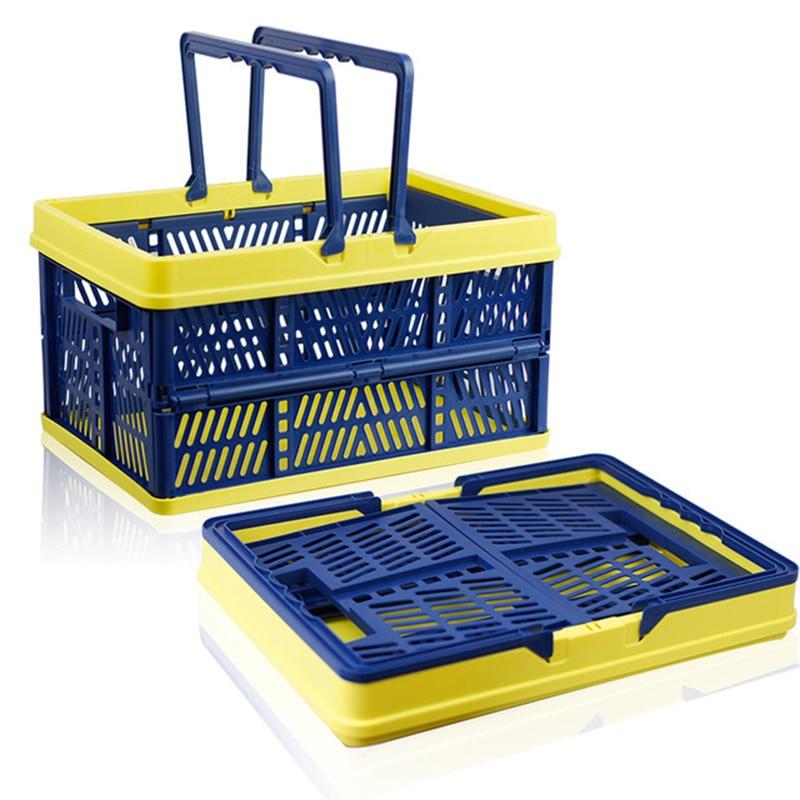 متعددة الأغراض طوي سلة التخزين سلة تسوق كبيرة البلاستيك نزهة بن الراحة مخزن التخزين المنظم سلة الغسيل