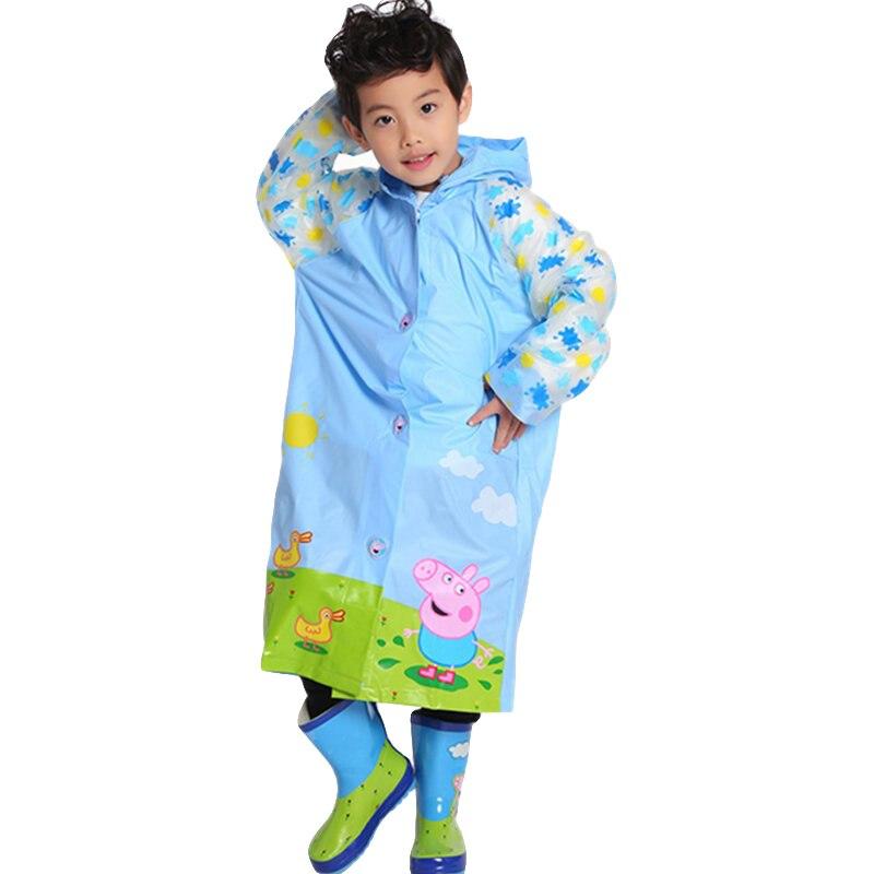 Chubasquero de dibujos animados Peppa Pig para niños, figuras de Anime, patrón George, Poncho de PVC de alta calidad para niño y niña, regalo portátil para chico de viaje 2