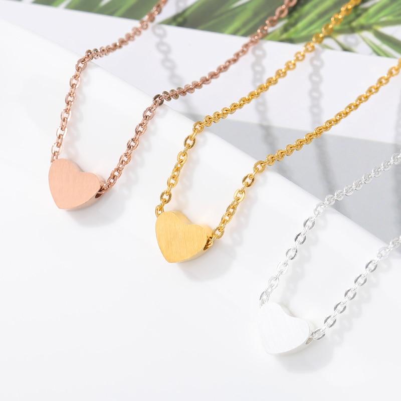 DIANSHANGKAITUOZHE Colar Choker Stainless Steel Jewelry Tiny Heart Pendant Necklace Women Gold Chain Bijoux Bridesmaid Gift