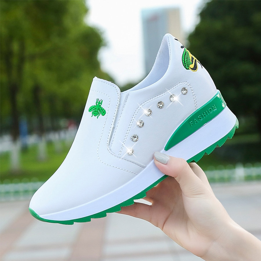 Casual High Heels Breathable Women Sneakers PU Round Toe Crystal Embroider Platform Wedges Tenis Feminino Female Vulcanize