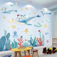 fish animals wall stickers decor diy seagrass plants wall decals for kids room baby bedroom bathroom home decoration accessories