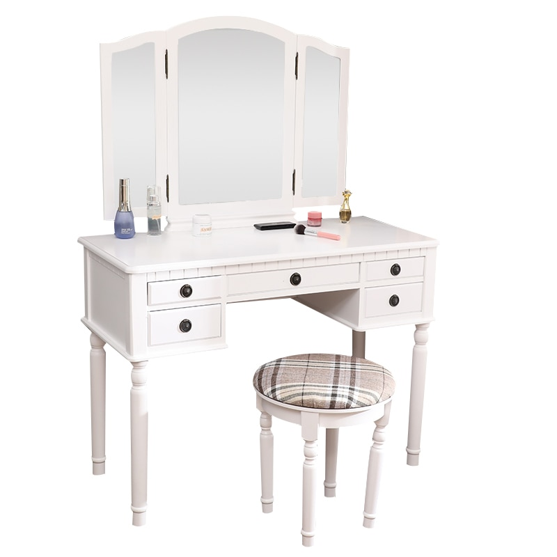 Комод трехскладной квадратный зеркальный ящик римская колонна туалетный столик белый с туалетным столиком белый американский склад
