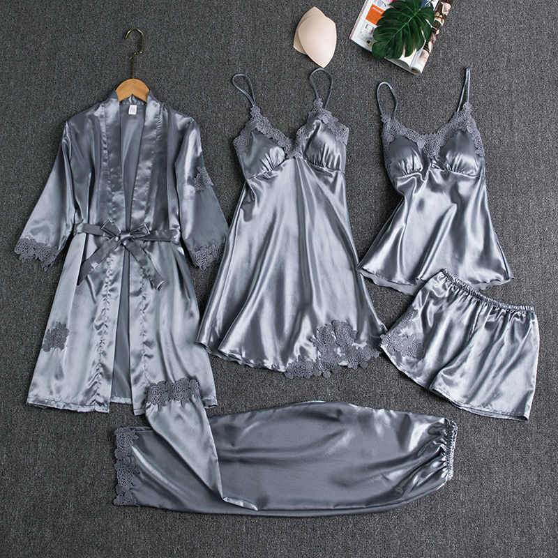 Sleepwear Female 5PCS Pajamas Set Satin Pyjamamas Lace Patchwork Bridal Wedding Nightwear Rayon Home Wear Nighty&Robe Suit