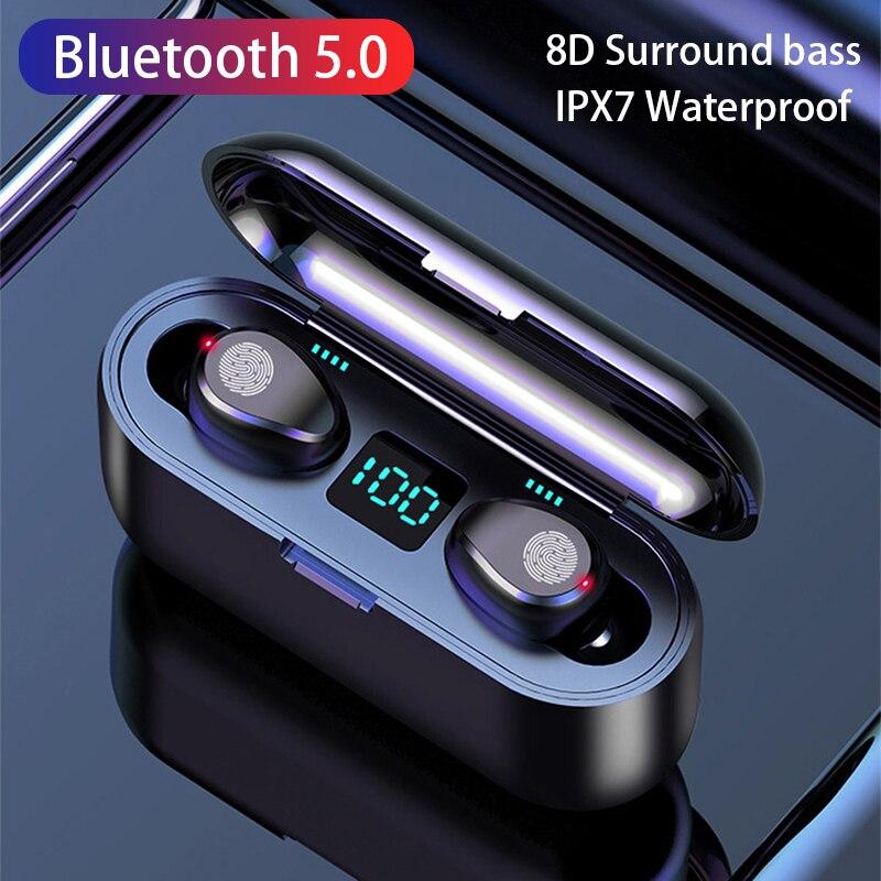 ROCKSTICK F9 TWS Drahtlose Kopfhörer mit Mikrofon Wasserdichte Sport Kopfhörer Bluetooth 5,0 Musik Ohrhörer Mini Taschenlampe