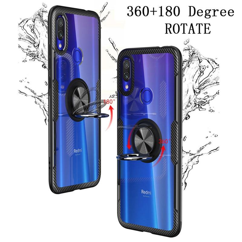Transparent Ring Shockproof Case For Xiaomi Redmi Note 5 7 8 Pro SE Lite Mi 9 SE 9T Pro K20 Pro With Finger Ring Dirt-resistant