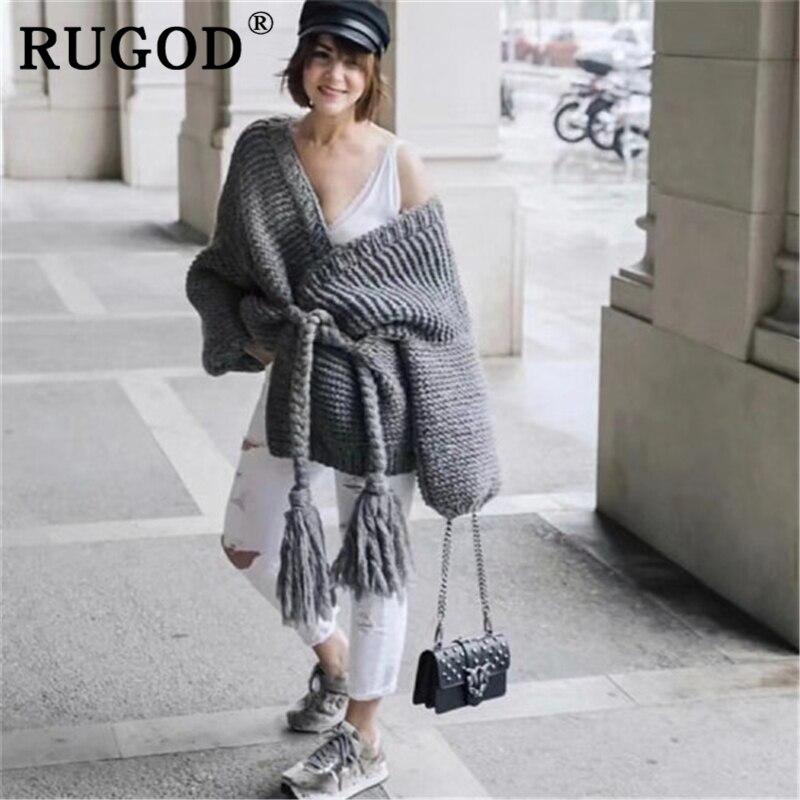 RUGOD lanterm manga Vintage sólidos malha cardigan sweater mulheres Moda casaco feminino Casual oversized solto lace up inverno desgaste