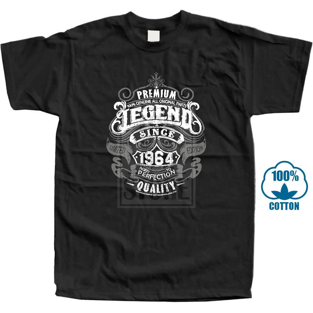 Legenda premium desde 1964 54th aniversário masculino engraçado t camisa 54 ano velho topo