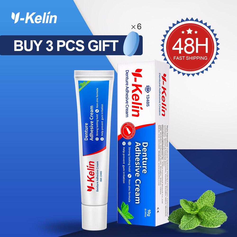 Y-kelin crema adhesiva para dientes 40g pegamento fuerte de la dentadura para la fijación completa Y parcial de la dentadura postiza crema de Unión prótesis
