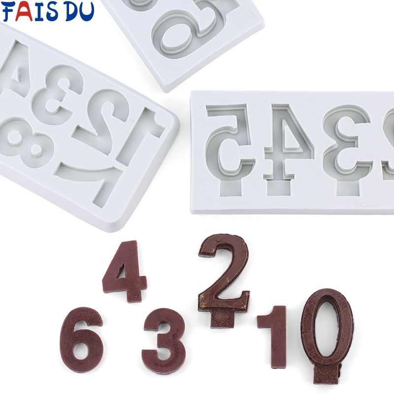 Molde 3D de silicona con letras de bloque de números, molde de pastel, herramientas de decoración, molde para dulces o Chocolate, herramienta para hornear galletas