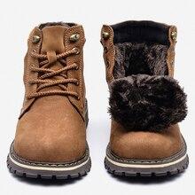 Botas de inverno masculinas de couro genuíno sapatos quentes feitos à mão de couro grão inteiro
