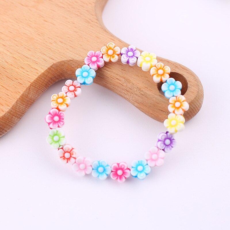 Pulsera y brazaletes de flores de acrílico de colores bonitos para niños de estilo veraniego para cumpleaños de niñas, regalo de joyas de fiesta al por mayor