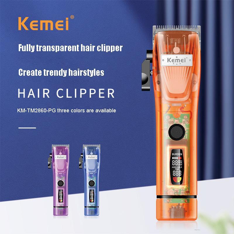 Kemei آلة قص الشعر LCD شاشة ديجيتال مشابك شعر النفط رئيس النقش الكهربائية المتقلب غطاء شفاف 7300 دورة في الدقيقة