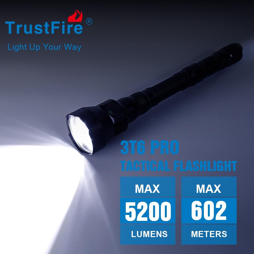 trustfire lanterna de caca 3t6 pro lanterna tocha com led tatico 5200 lumens bateria