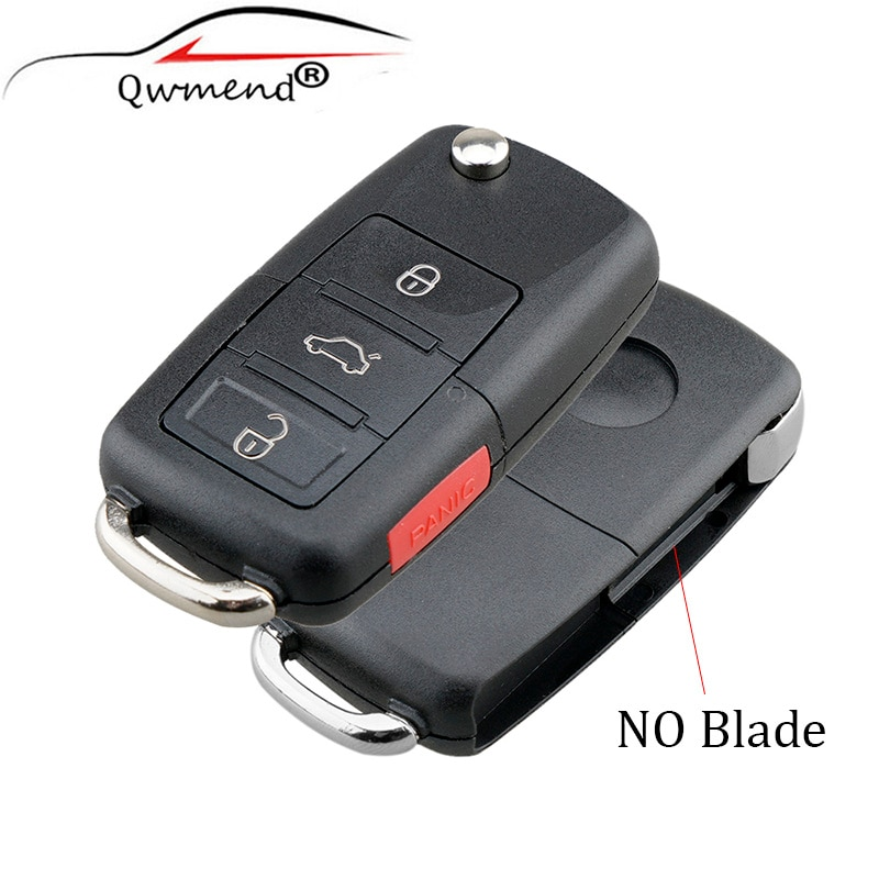QWMEND 3Buttons Remote Key Shell Case For Vw Jetta Golf Passat Beetle Polo Skoda 2004-2011 Original Car Key Fob Without Blade