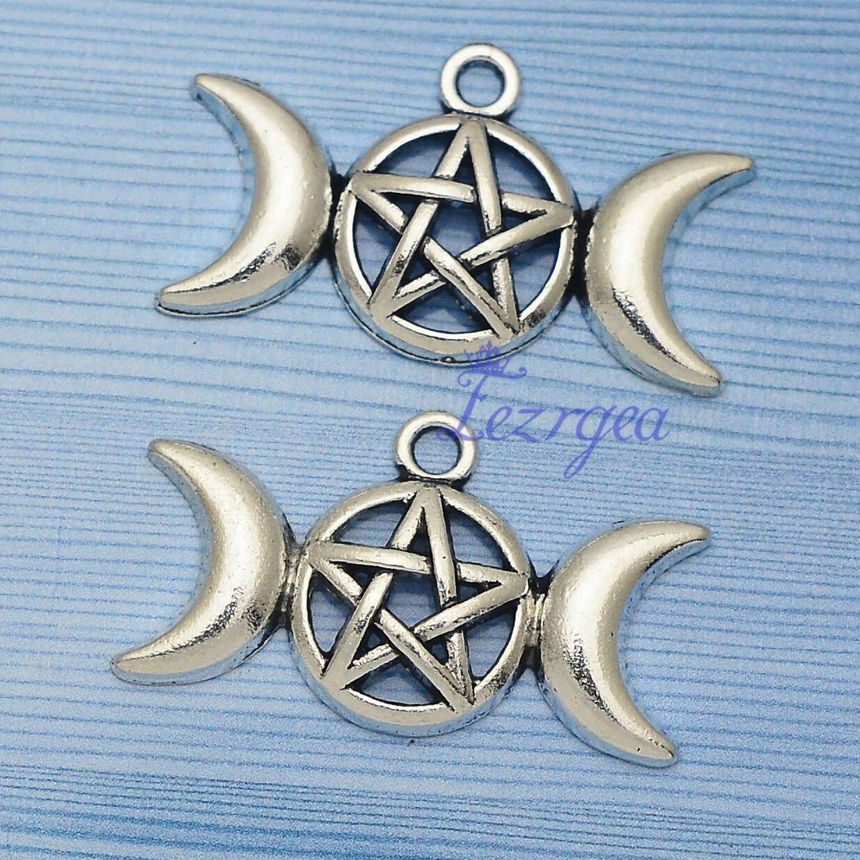 15 pçs/lote -- 30x17mm,Triple Moon chams, Deusa Da Lua encantos Antigo banhado a prata Triplo, material de BRICOLAGE, acessórios de Jóias