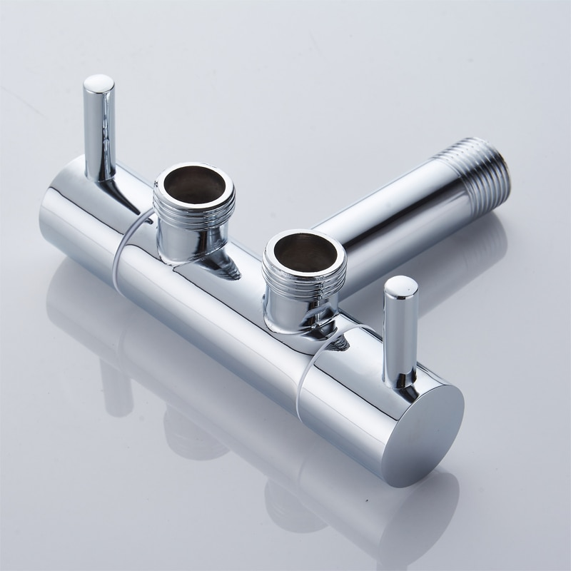 Grifo de baño, de cobre para el hogar, engrosamiento de la galjanoplastia al vacío, fregona para máquinas, grifo de piscina, válvula de ángulo de tres vías, grifo de doble uso
