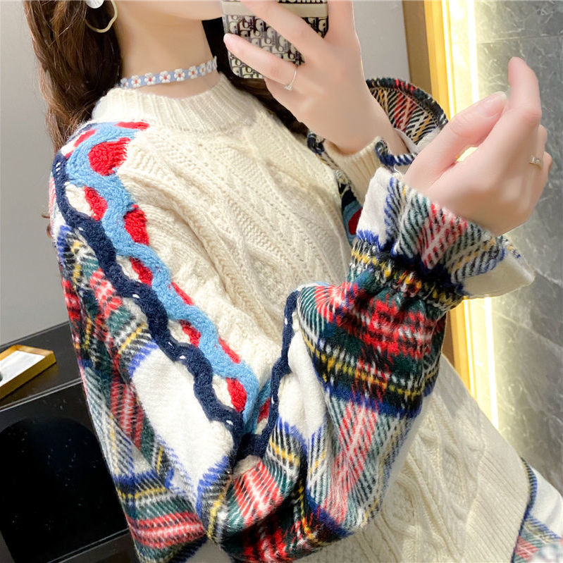 Fake two-piece sweater girl loose outside wearing 2020 new autumn/winter shirt stitched knitted top students