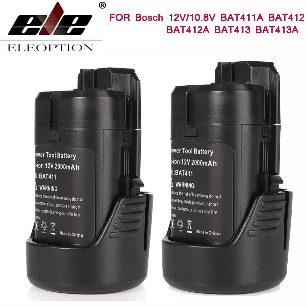 2PCS Battery for Bosch BAT411 Battery 12V 2.0Ah Lithium-Ion BAT411A BAT412 BAT412A BAT413 BAT413A