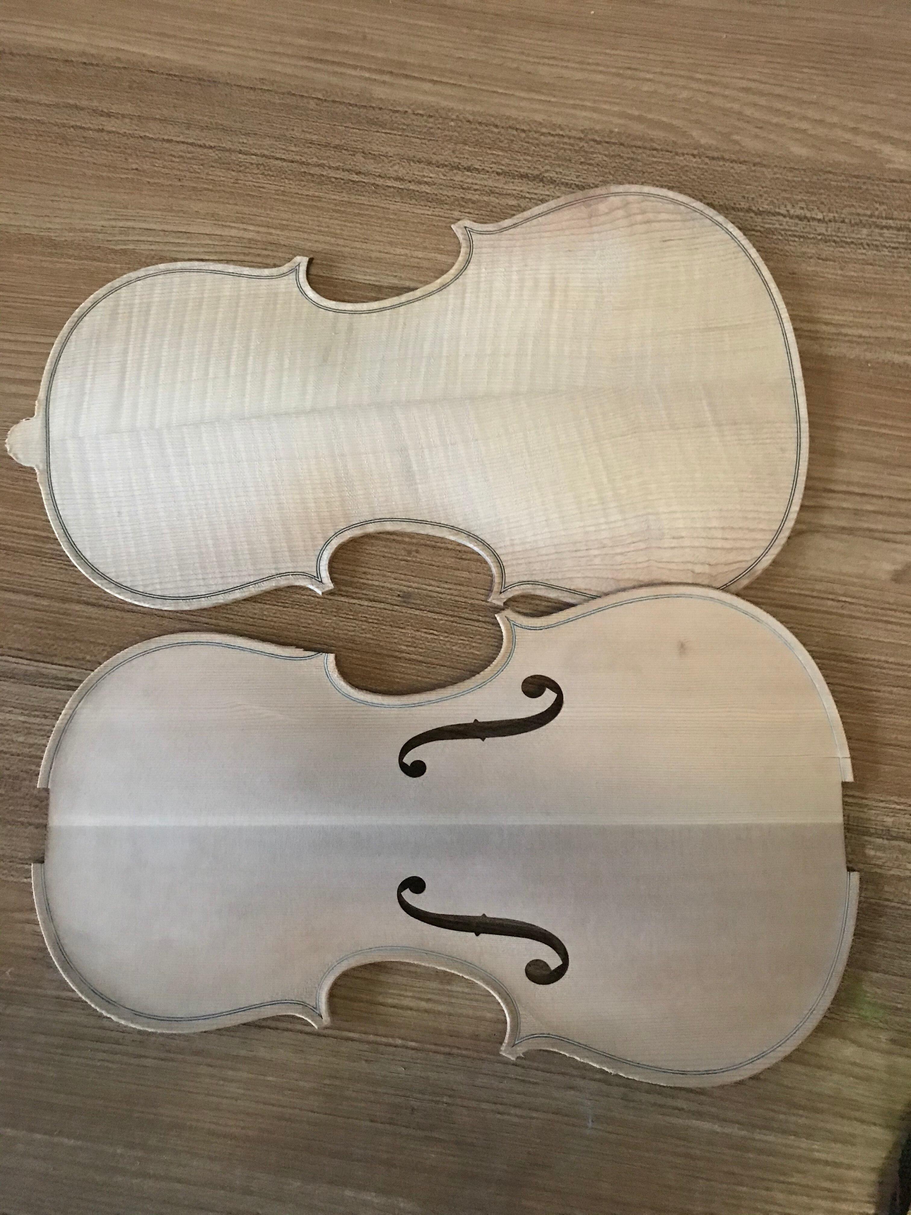 A Set of Handcraft 1/4 1/2 3/4 4/4 Violin Panel Unfished Fiddle Violin Spruce Front Panel Topboard Maple Backplate enlarge