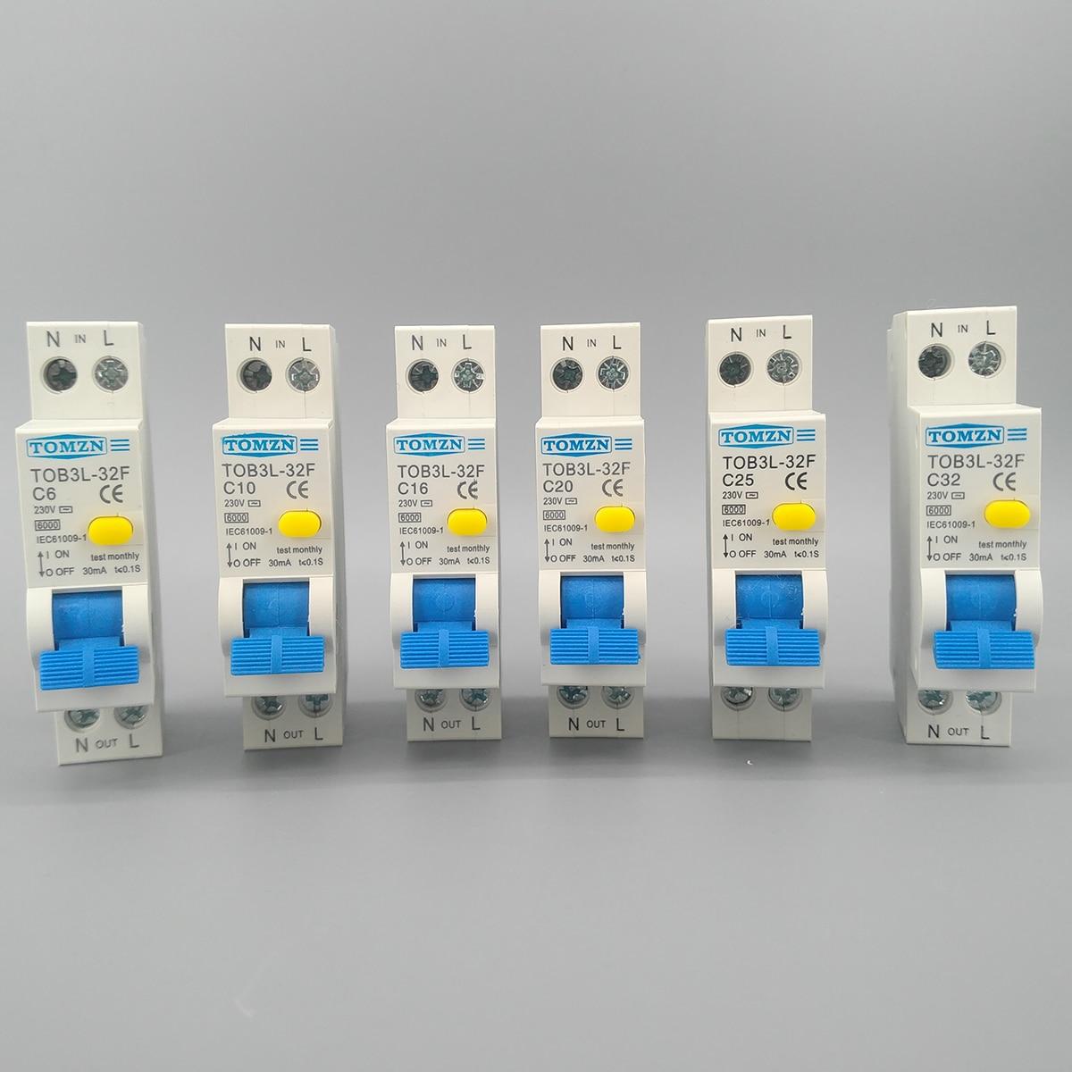 TOB3L-32F 18 ММ RCBO 16A 1 P + N 6КА Остаточный ток выключателя с по сравнению с нынешним и предохранения от Утечки дифференциальный автомат, диф автомат...