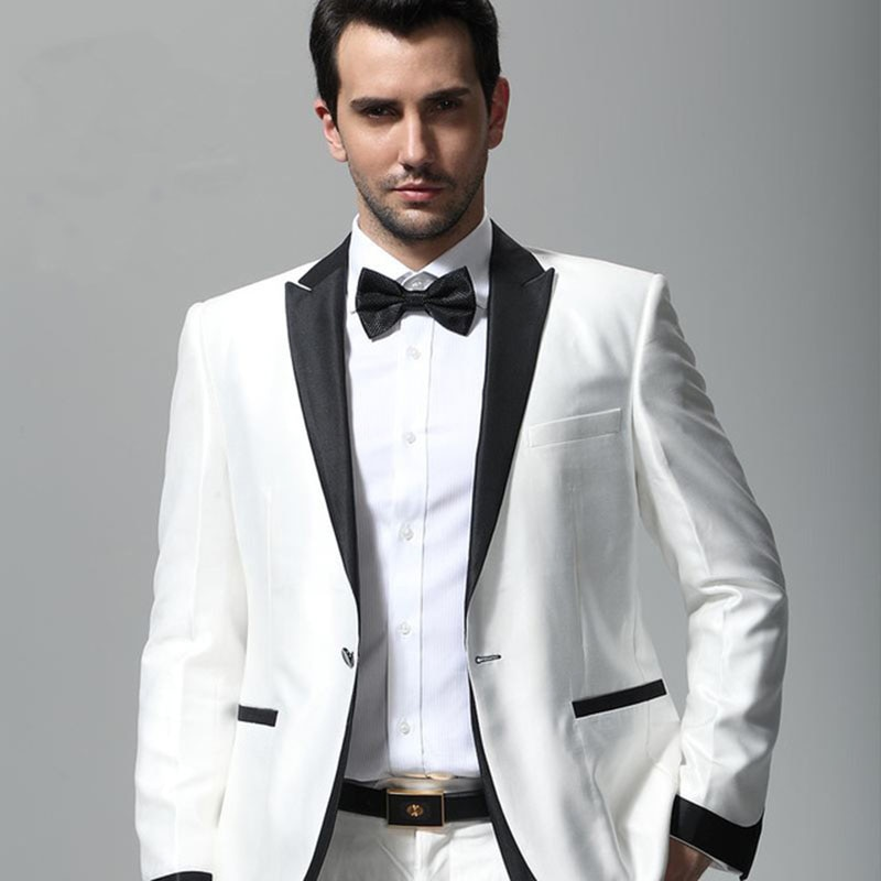 Traje de esmoquin ajustado para hombre con solapa negra traje de boda para hombre Ternos Masculino trajes para hombre para graduación novio (chaqueta + Pantalones + corbata)