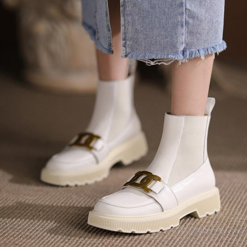 Sapatos de Inverno para Mulher Metal Decoração Estilo Couro Real Elástico Feminino Tornozelo Botas Plataforma Moda Salto Alto Outono Ins