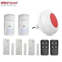 Wolf-Guard sans fil interieur Mini alarme de securite a domicile systeme antivol Kit de bricolage LED clignotant sirene PIR detecteur de mouvement capteur de porte