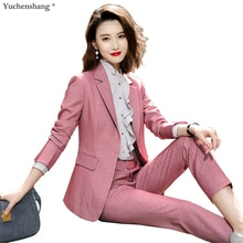 High Quality Women Plaid Pant Suit Business Interview Work Wear Set Pink Gray Blue Long Sleeve Soft