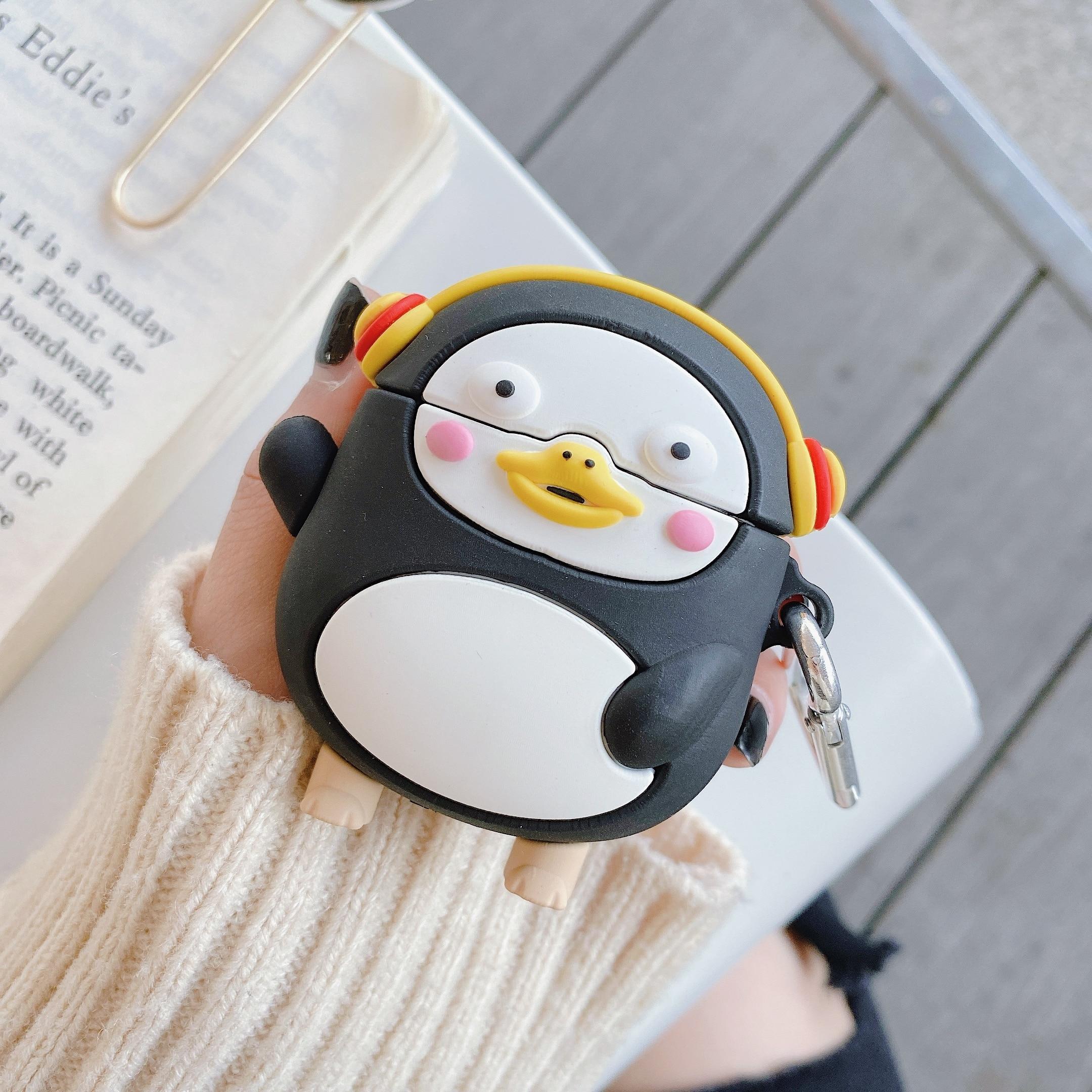 Para Apple AirPods Pro Cartoon Cute Dynamic Penguin funda de auriculares para AirPods 1 2 3 auriculares inalámbricos Bluetooth con gancho