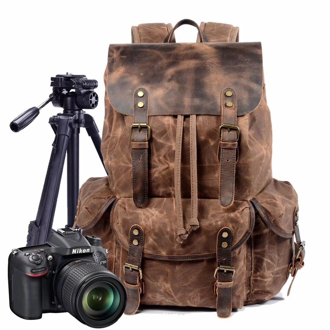 Mochila impermeable de lona Vintage para cámara réflex, portátil, bolsa Digital, vídeo...