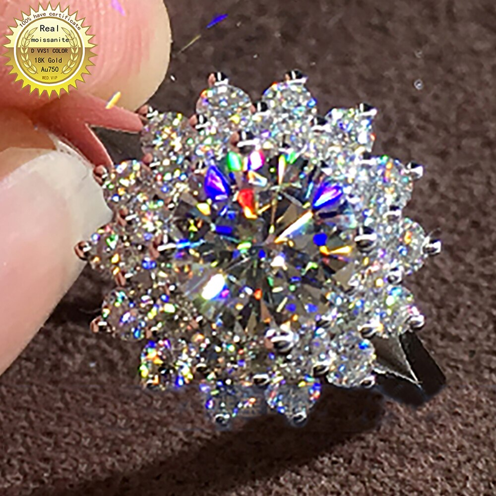 18K Au750 الذهب الأبيض المرأة خاتم الخطوبة لحفلات الزفاف 1 2 3 4 5 قيراط جولة مويسانيتي خاتم الماس الكلاسيكية العصرية الأنيقة