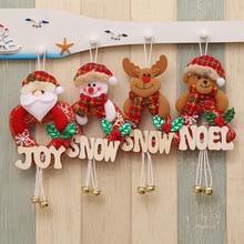 Christmas Decor Wooden Letter Snowman Tree Hanging Ornaments DIY Gift Santa Claus Elk Reindeer Toy Doll Hang Decorations Navidad