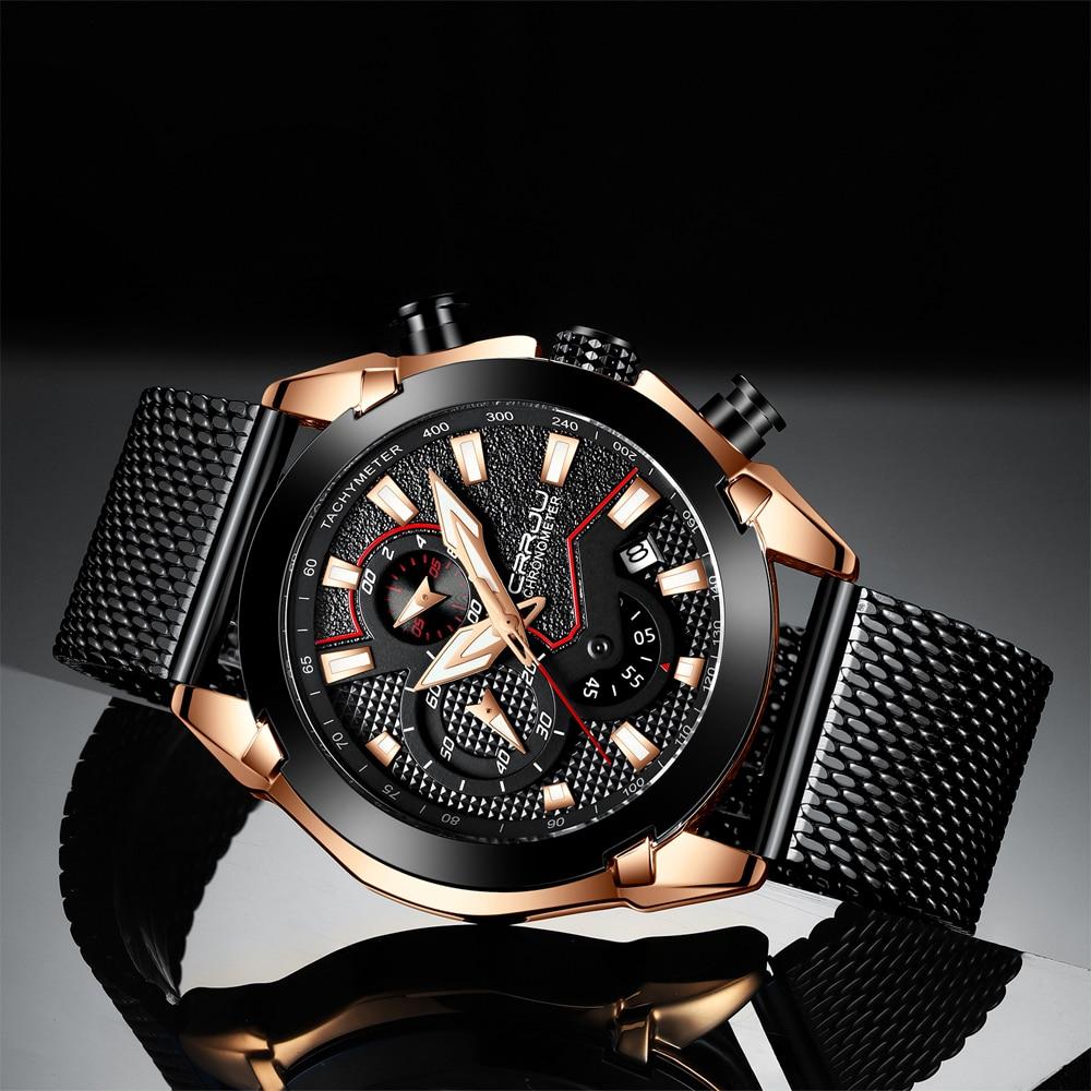 ¡Nuevo! Reloj CRRJU para hombre, cronógrafo deportivo de lujo, de acero inoxidable, resistente al agua, reloj de cuarzo, reloj Masculino