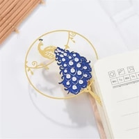 1pc chinese style retro metal bookmark peacock pendant hollow bookmark tassel pagination mark stationery supply gift wholesale