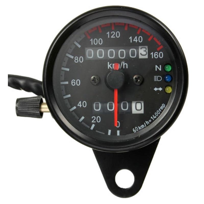 Motorcycle Dual Odometer Speedometer Gauge LED Backlight km/h 12V Black