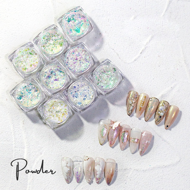 1Box Holographic Chameleon Nail Art Glitter Sequins Ultra-Thin Rainbow Colors Chunky Flakes Cloud Paillette Manicure Tip