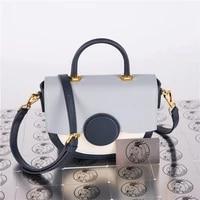 coated cowhide leather bag new color matching saddle bag shoulder portable messenger bag fashion half moon handbag