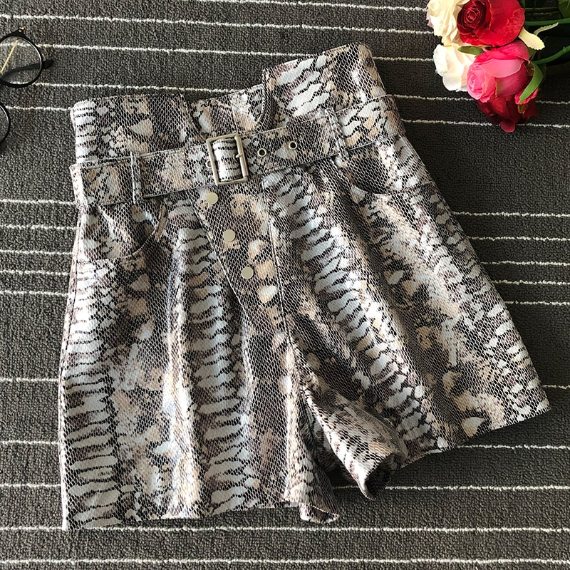 Women high quality high waist real leather shorts 2019 Autumn sheepskin belt leather short trousers A683